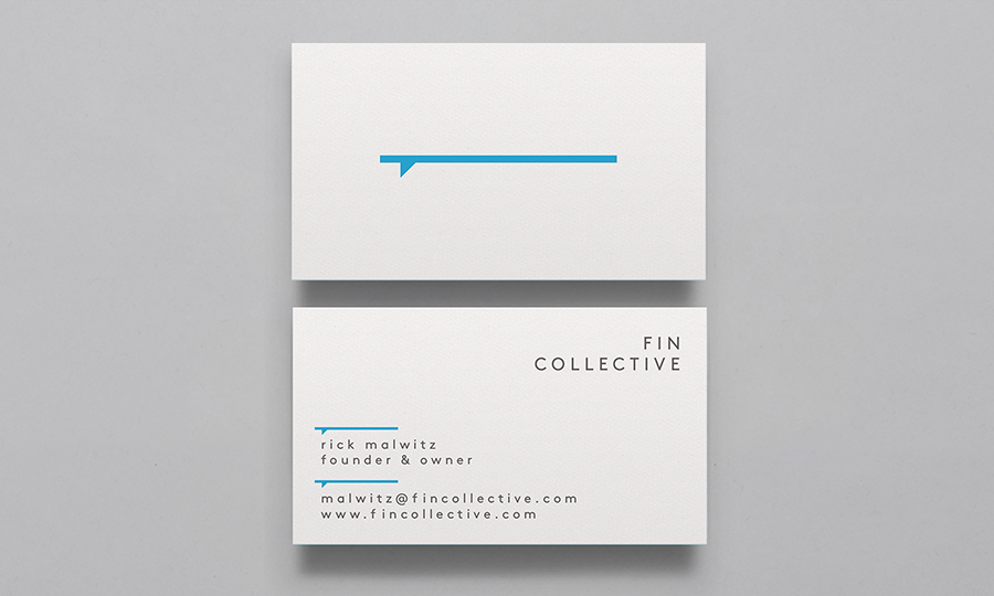 Logo and business cards designed by DIA for custom surfboard maker Fin Collective