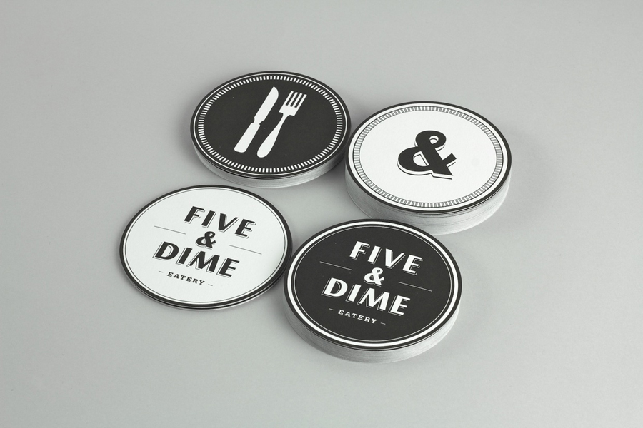 Logo design and coasters by Bravo Company for Singapore cafe and restaurant Five & Dime