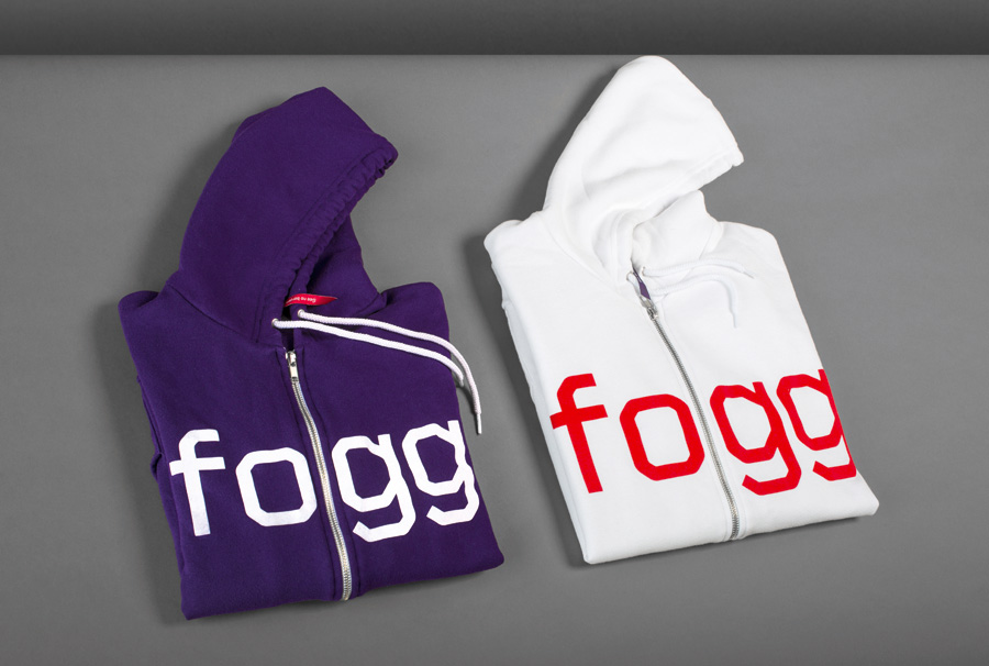 Brand identity and screen printed hoodies created by Kurppa Hosk and Bunch for international fixed cost mobile data traffic service Fogg