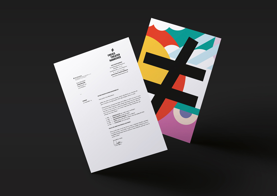 Headed paper with bright illustrative reverse for Freies Theater Hannover by Bureau Hardy Seiler