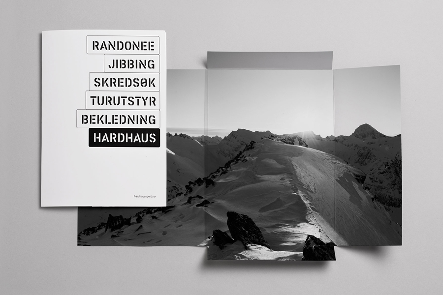 Logotype and print designed by Heydays for mountain sports retailer Hardhaus