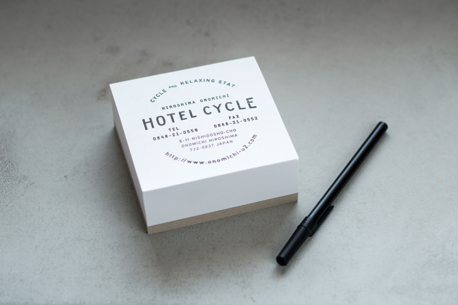 Logotype and notepad designed by UMA for U2's Onomichi based Hotel Cycle