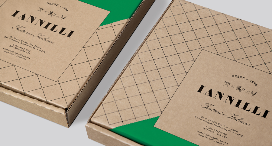 Logo and screen printed, uncoated, unbleached pizza box for Monterrey-based traditional Italian restaurant Iannilli designed by Savvy