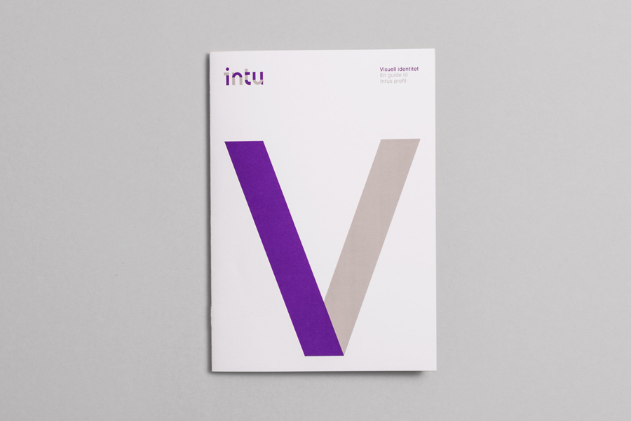 Logotype and print with a purple spot colour detail designed by Heydays for Norwegian accounting and consultant firm Intu