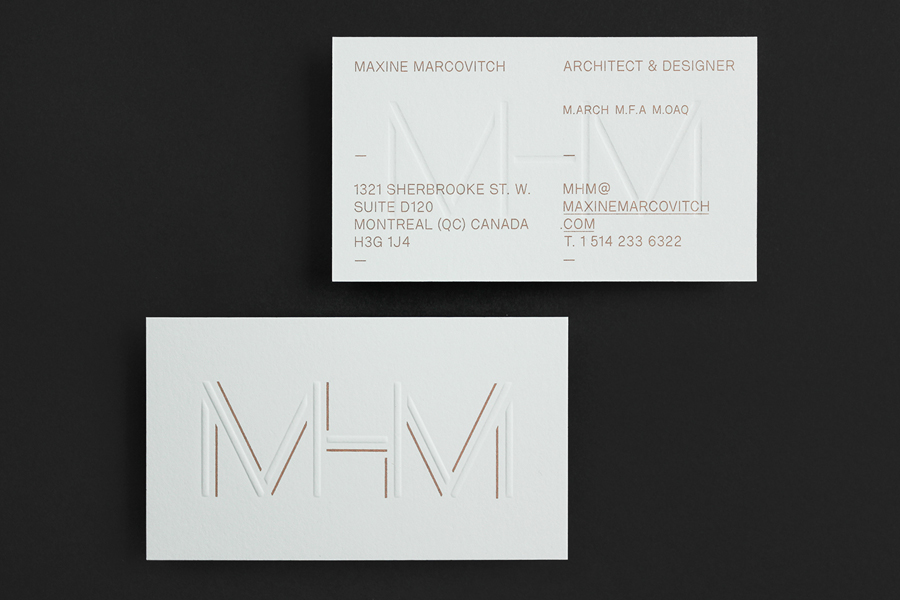 Logo and blind embossed business cards with metallic copper spot for MHM Architects by 26 Lettres