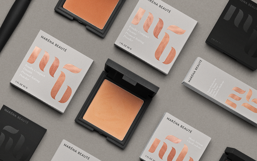 Logo and packaging with copper foil detail designed by We Are Bold for Maréna Beauté
