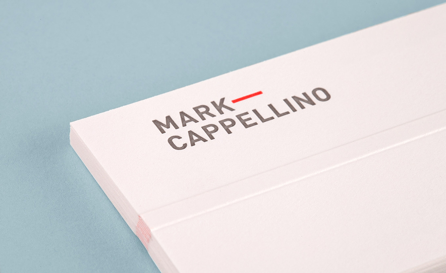 Logo and business card with emboss detail designed by Perky Bros for leadership consultant Mark Cappellino