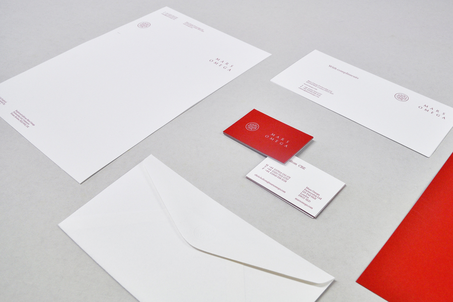 Logo and stationery with white foil detail for London-based information gathering consultancy Mars Omega designed by Igloo