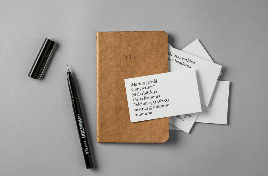 Logo and business card with an Indigo type-only design solution for Swedish copywriter Mattias Jersild created by BVD