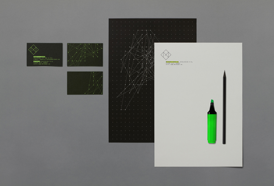 Logo and stationery design by Work In Progress for technology consultant Metronet