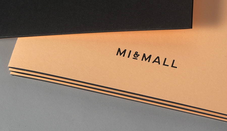 Logo and letterpress folder designed by Atipo for online fashion retailer Mi&Mall