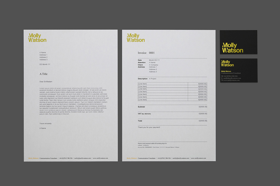 Logotype, business card and headed paper with yellow foil detail designed by Studio Blackburn for communications specialist Molly Watson