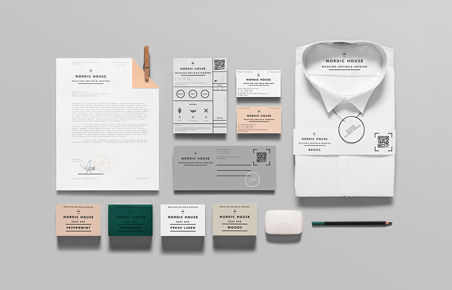 Logotype and stationery design by Anagrama for dry cleaning shop Nordic House