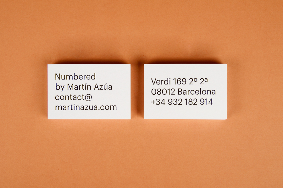 Business card with oversized typography designed by P.A.R for Numbered by Martín Azúa