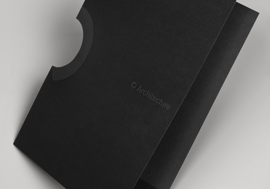 Logo and folder design with die cut detail by Heydays for O Architecture