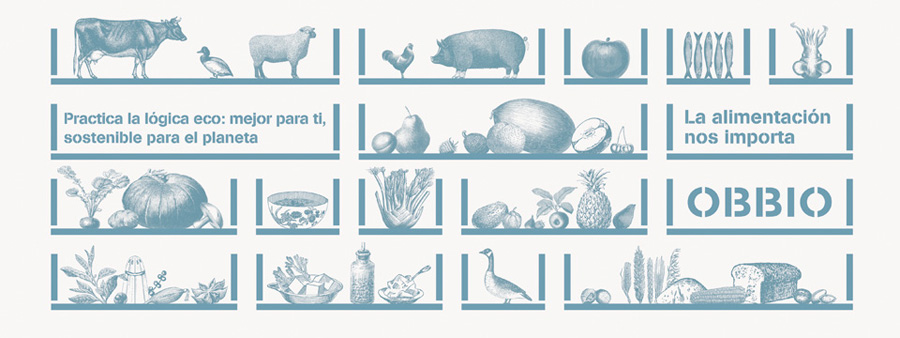 Logo and illustration by Mayuscula for Spanish organic supermarket Obbio
