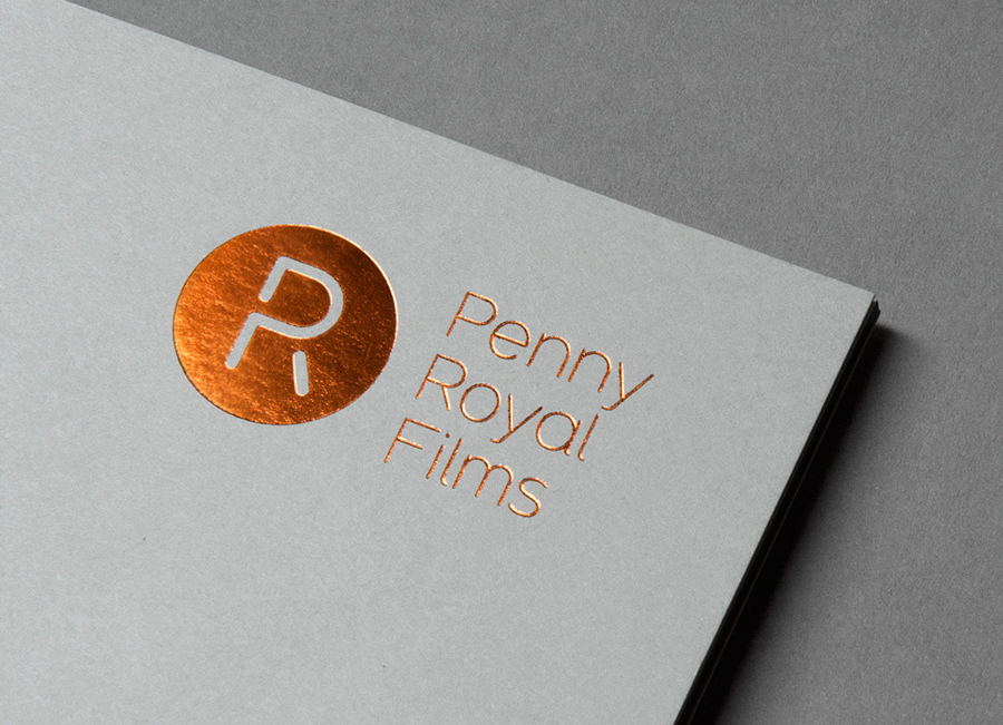 Logo and print with copper block foil print finish designed by Alphabetical for Penny Royal Films