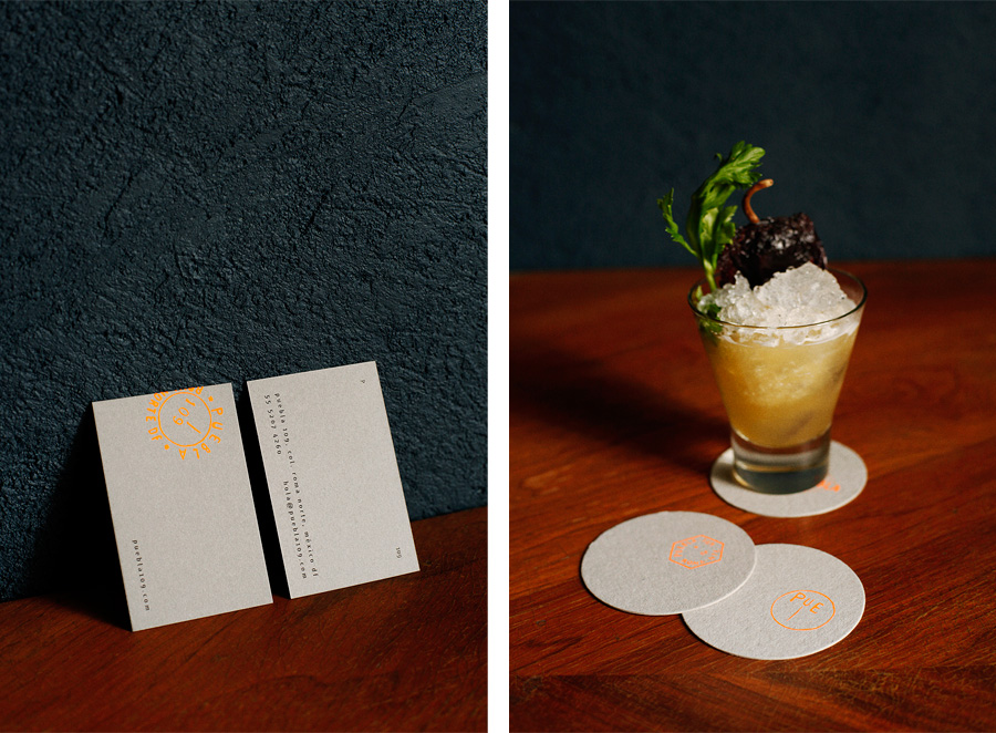 Coasters and business cards by Savvy for art, design and gastronomy experience Puebla 109