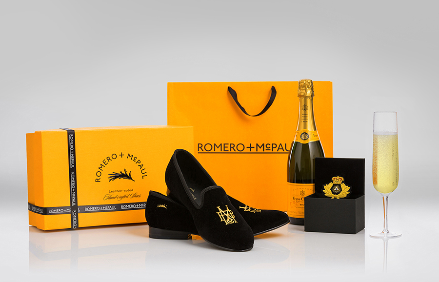 Logo and packaging design by Anagrama for luxury slipper brand Romero+McPaul