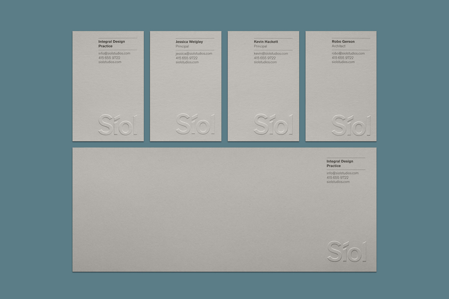 Logo and blind emboss stationery for San Francisco-based architecture studio Síol created by Mucho