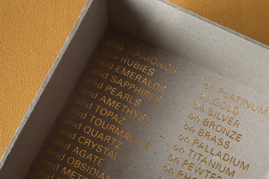 Jewellery box with copper foil detail for retailer Sancy & Regent designed by OK-RM
