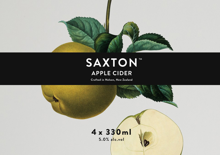 Label with traditional, botanical illustrative detail designed by Supply for Saxton Cider
