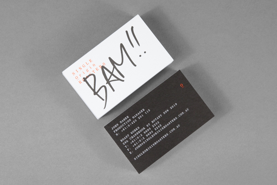 Business cards for Single Origin Roasters designed by Maud