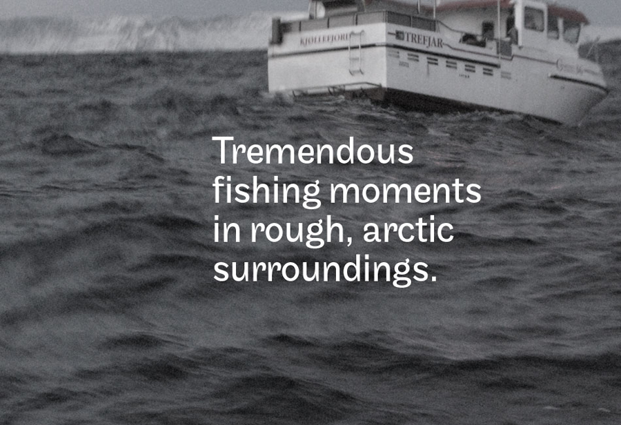 Photography and typography by Neue for Norwegian deep sea fishing experience Striptind