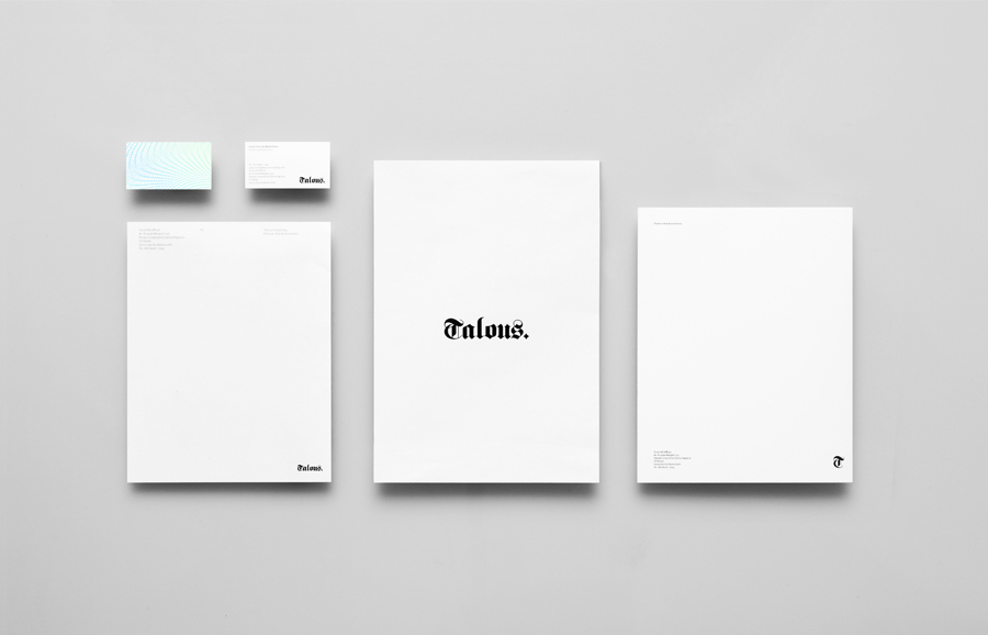 Logo, business card and stationery with guilloché pattern detail for boutique financial consulting firm Talous designed by Anagrama