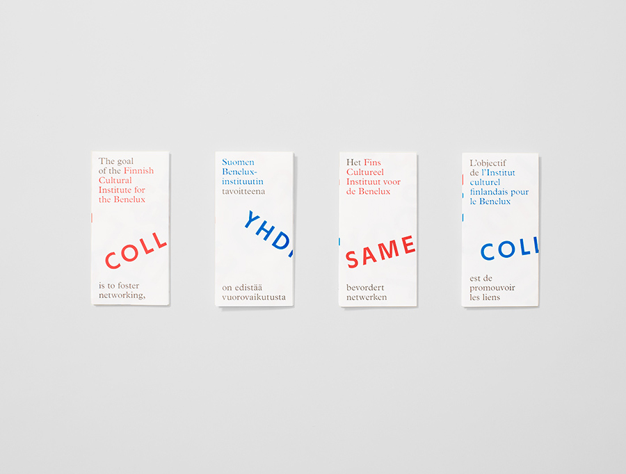 Logo and print with red and blue ink overprint detail designed by Kokoro & Moi for The Finnish Cultural Institute for the Benelux