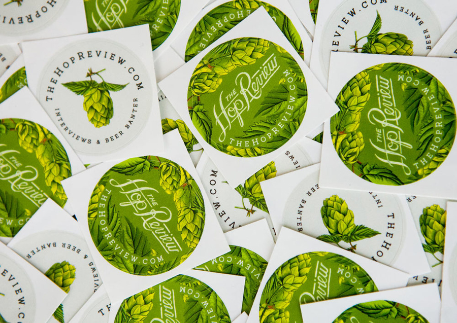 Logo and sticker with hand drawn illustrative detail designed by Jack Muldowney for beer blog The Hop Review