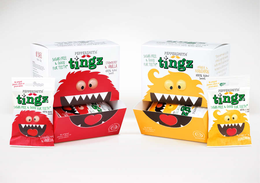 Packaging designed by B&B Studio for Peppersmith's sugar-free sweet range Tingz
