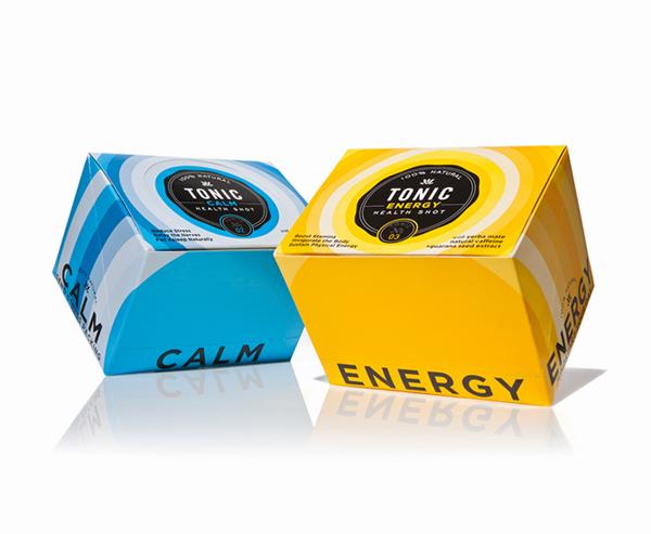 Packaging by Little Big Brands for fruit based energy shot range Tonic