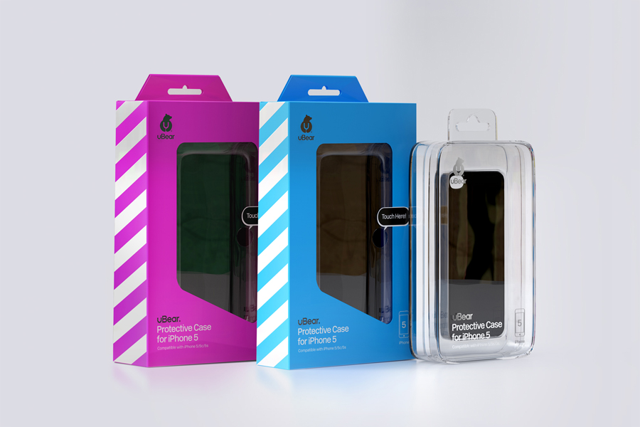 Packaging designed by Hype Type Studio for high end mobile phone, tablet and laptop accessories company U-Bear