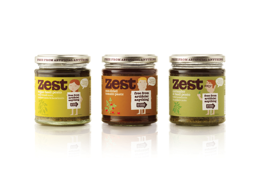 Packaging, illustration and logo design for pasta sauce and pestos brand Zest by Designers Anonymous