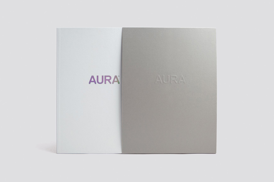 Logotype and print with holographic and blind embossed detail designed by Believe In for Lorient's door sealing system Aura.