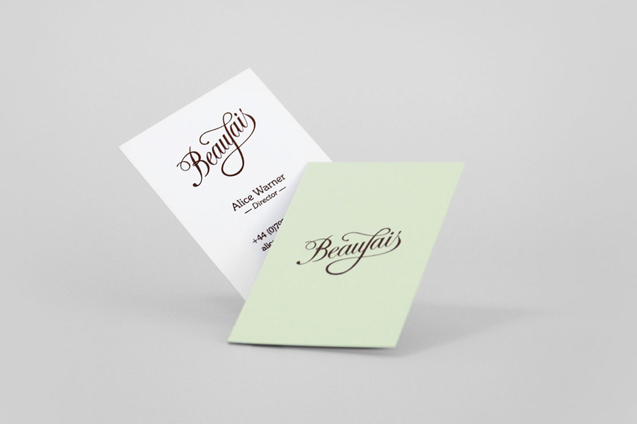 Logo and business card designed by Parent for luxury lingerie brand Beaujais