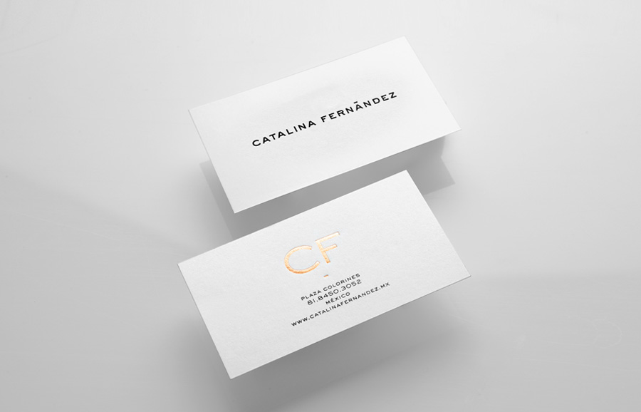 Logotype and business card with gold foil detail designed by Anagrama for San Pedro pastry shop Catalina Fernandez
