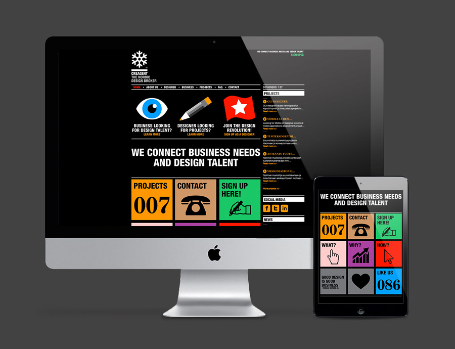 Logo and website designed by Bond for nordic design broker Creagent
