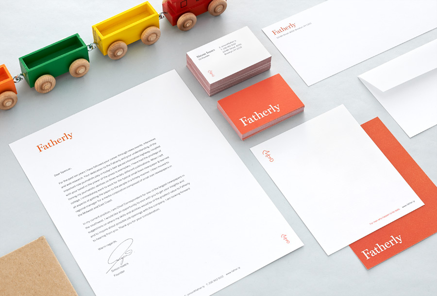 Stationery designed by Apartment One for dad-centric parenting media platform Fatherly