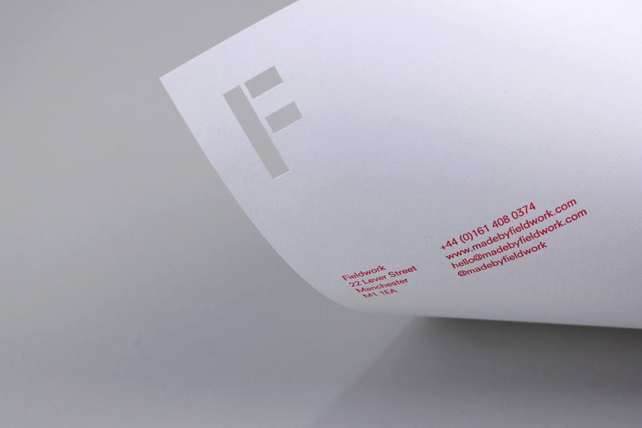 Logo and letterhead with stencil cut detail created by digital design and branding agency Fieldwork