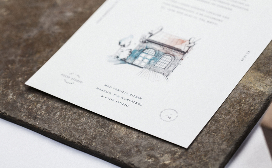 Logo and print with hand drawn illustrative detail designed by Bielke+Yang for Food Studio