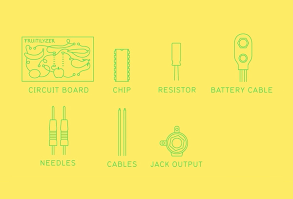 Icons designed by Resort for fruit and vegetable based electronic music making kit Fruitilyzer