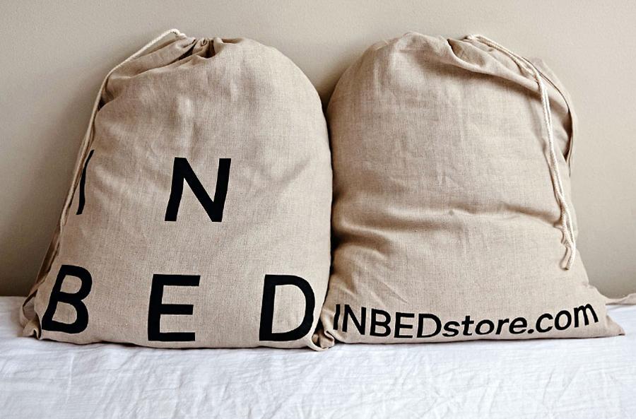 Logo and screen printed bags for online linen retailer In Bed designed by Moffitt.Moffitt