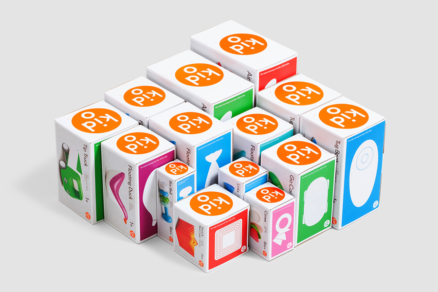 Packaging for modern toy business Kid O designed by Studio Lin