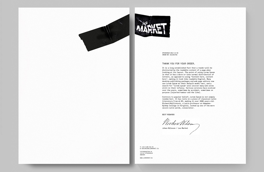 Logo and stationery design by Planet Creative for Les Market