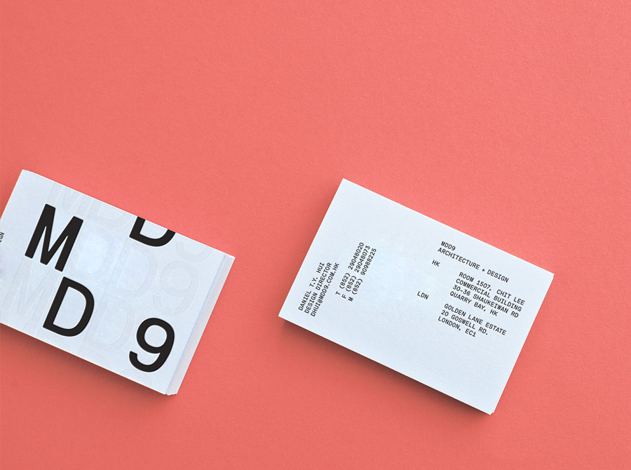 Logo and business card with blind deboss detail designed by Two Times Elliott for interior and architecture firm MDD9