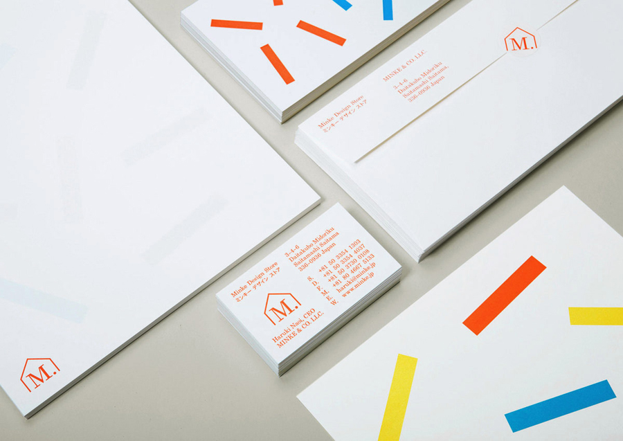 Logo, headed paper, envelope with sticker and business card designed by Studio Lin for Tokyo homeware store Minke