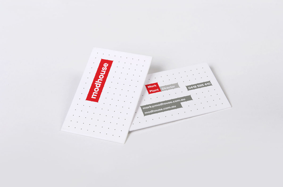 Logo and modular grid based business card designed by A Friend Of Mine for Australian design and building firm Modhouse