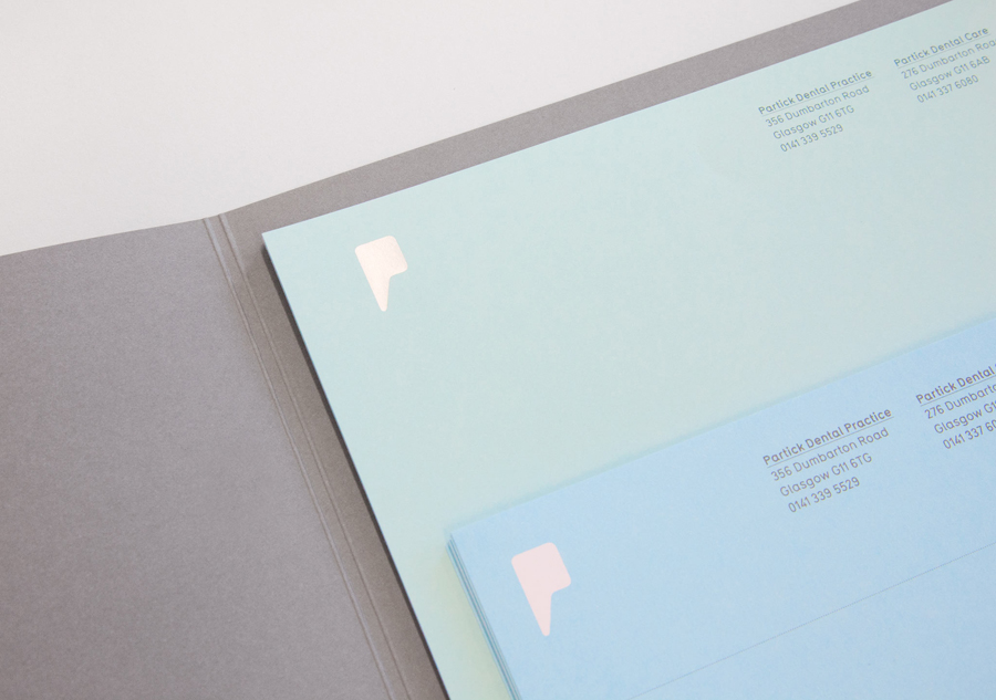 Logo and stationery with coloured paper and grey board detail designed by Freytag Anderson for Partick Dental featured on BP&O